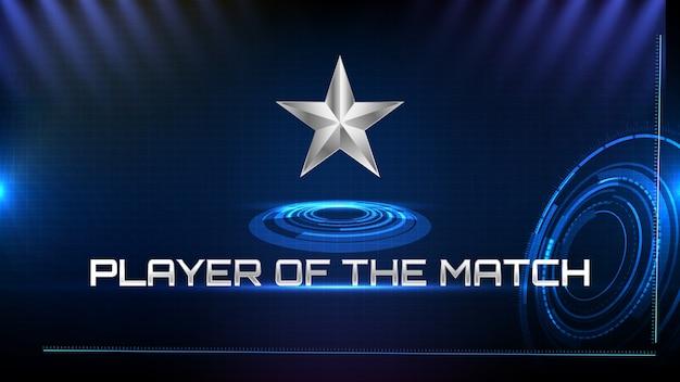 Streszczenie tło niebieskiej futurystycznej technologii metalowej gwiazdy i gracza tekstu znaku meczu
