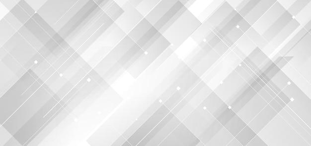 Streszczenie tło nowoczesnej technologii biały i szary kwadrat geometryczny nakładający się z liniami.