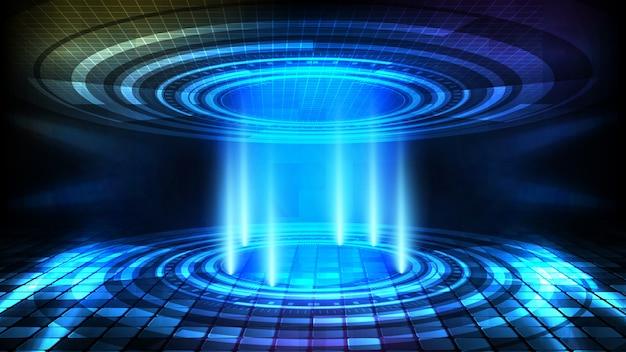 Streszczenie tło okrągły ekran interfejsu użytkownika futurystycznej technologii hud i oświetlenie pusty etap tło reflektor