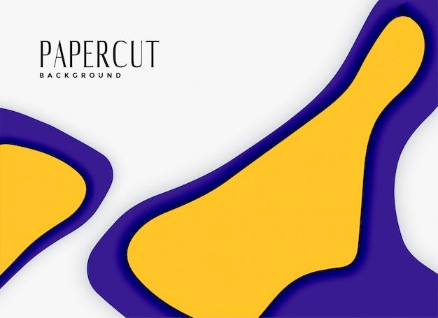 Streszczenie tło papercut w kolorach fioletowym i żółtym