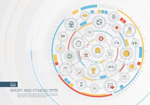 Streszczenie tło podróży. cyfrowy system łączenia ze zintegrowanymi okręgami, kolorowe ikony. radialny interfejs graficzny. koncepcja przyszłości. infografika ilustracja