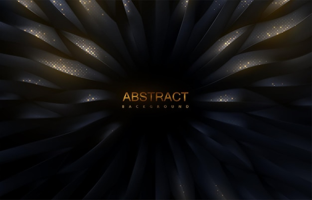 Streszczenie tło promieniowego czarnego wzoru 3d z połyskującymi złotymi błyskami