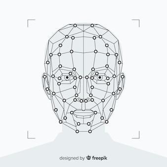 Streszczenie tło rozpoznawania płaskiej twarzy