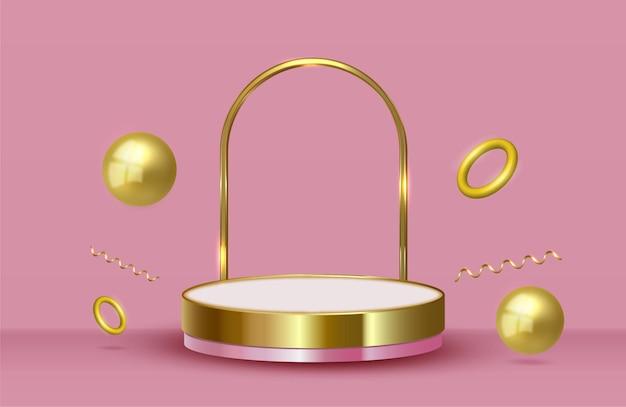 Streszczenie tło sceny ze złotymi cylindrycznymi pierścieniami konfetti na podium i złotymi kulkami ball