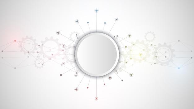 Streszczenie tło splotu z łączącymi kropkami i liniami. globalne połączenie sieciowe, technologia cyfrowa i koncepcja komunikacji.