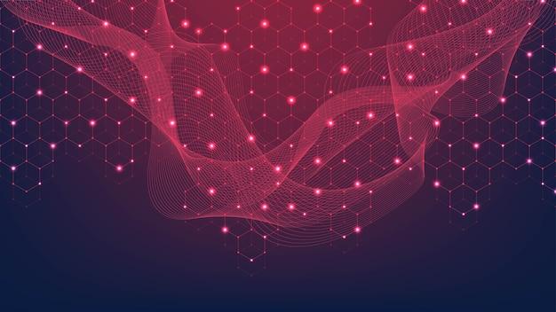 Streszczenie tło splotu z połączonymi liniami i kropkami. efekt geometryczny splotu. cyfrowa wizualizacja danych.