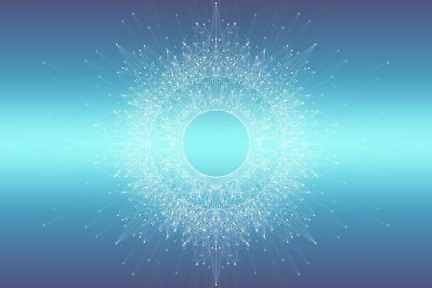 Streszczenie tło splotu z połączonymi liniami i kropkami. tło cząsteczki i komunikacji. graficzne tło dla swojego projektu. wizualizacja dużych zbiorów splotów linii. ilustracja.