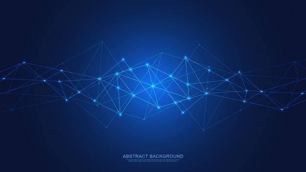 Streszczenie tło technologii z łączeniem kropek i linii. cyfrowa technologia globalnego połączenia sieciowego i komunikacji.