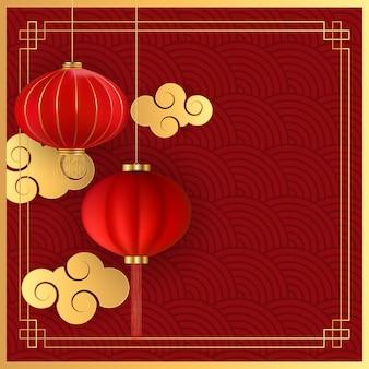 Streszczenie tło wakacje chiński wiszące latarnie i chmury złota