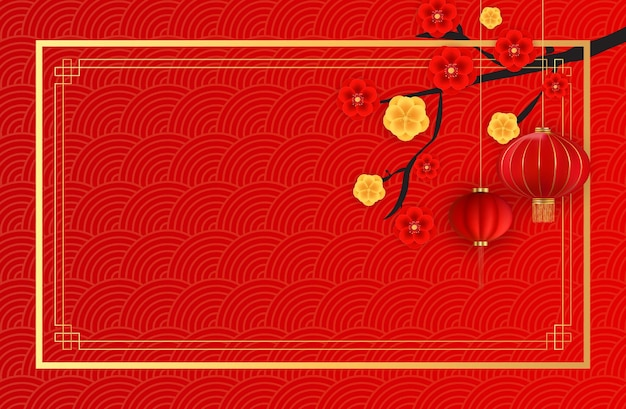 Streszczenie tło wakacje chiński wiszące latarnie i kwiaty śliwki.