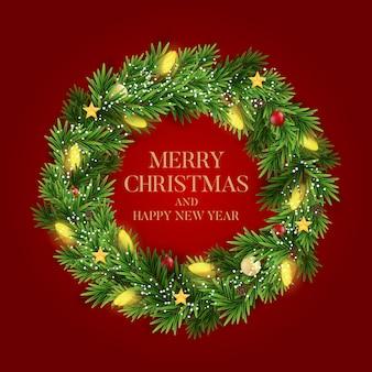 Streszczenie tło wakacje nowy rok i wesołych świąt z realistycznym wieniec bożego narodzenia.