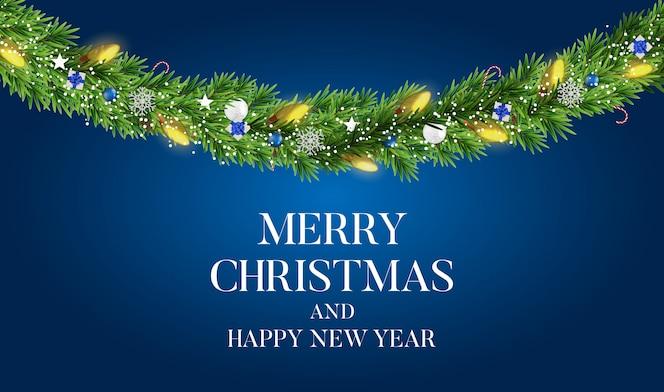 Streszczenie tło wakacje nowy rok i wesołych świąt z realistycznym wieniec bożego narodzenia