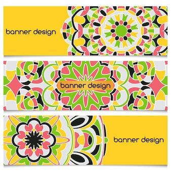 Streszczenie tło wektor geometryczne nagłówka z mandali. zestaw banerów wektorowych z abstrakcyjnymi geometrycznymi kształtami kolorowymi. zestaw kart etnicznych.