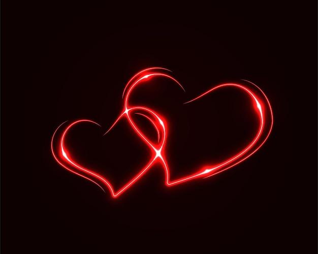 Streszczenie tło wektor serca elektryczne światło. efekt błysku iskry. jasna zakrzywiona linia. neonowe świecące krzywe.