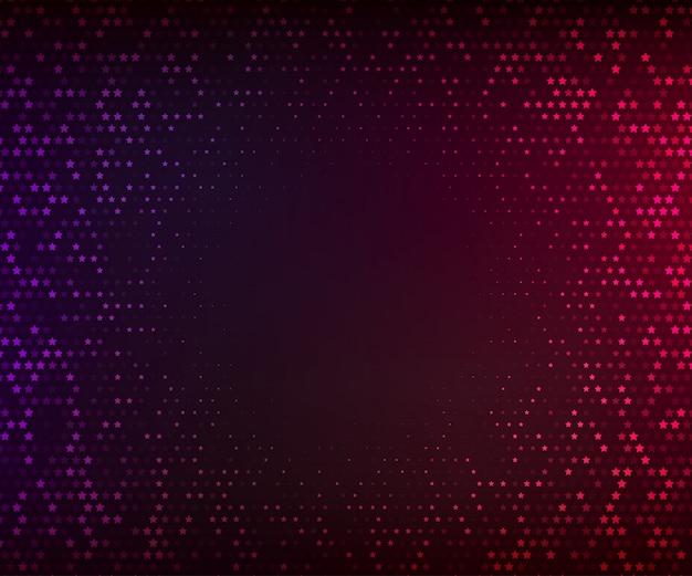 Streszczenie tło wektor. świecąca mozaika gwiazd na ciemnym fioletowo-czerwonym tle. efekt półtonów