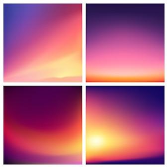 Streszczenie tło wielobarwny niewyraźne zestaw. kwadrat rozmyte tło zestaw - niebo chmury morze ocean plaża kolory