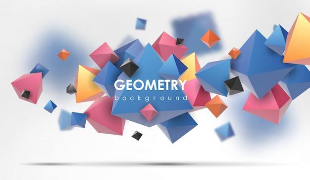 Streszczenie tło wielokąta. 3d odpłacają się ilustrację. geometryczne tło z elementami low-poly.