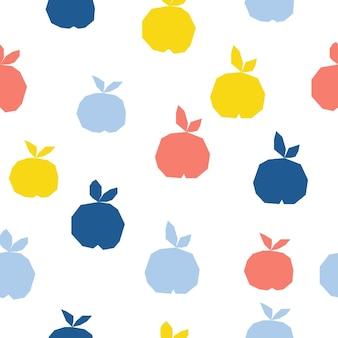 Streszczenie tło wzór jabłko. dziecinne ręcznie robione rzemiosło do karty projektowej, menu kawiarni, tapety, letniego albumu na prezenty, albumu z wycinkami, papieru do pakowania wakacji, tkaniny tekstylnej, nadruku na torbie, koszulki itp.