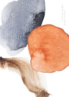 Streszczenie tło z akwarela tekstury. ilustracja szablonu japońskiej fali w stylu orientalnym