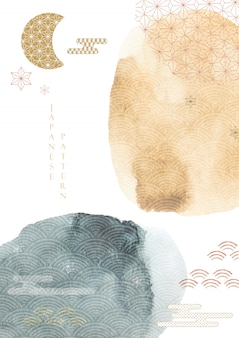 Streszczenie tło z akwarela tekstury. japoński szablon z azjatycką ikoną ilustracji.