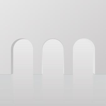 Streszczenie tło z białym kolorem geometryczne podium 3d. ilustracja wektorowa.