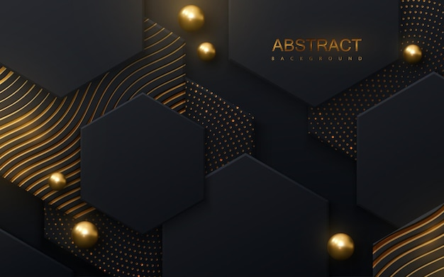 Streszczenie tło z czarnymi sześciokątnymi kafelkami teksturowanymi ze złotymi błyszczącymi wzorami