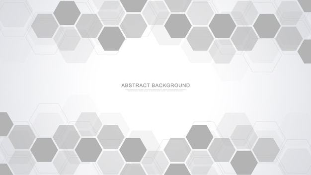 Streszczenie tło z geometrycznymi kształtami i koncepcją sześciokąta, technologii i nauki