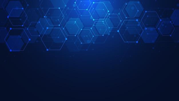 Streszczenie tło z geometrycznymi kształtami i sześciokątnym wzorem. projektowanie medycyny, technologii lub nauki.