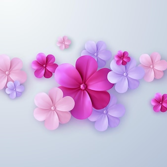 Streszczenie tło z kolorowych papierowych kwiatów