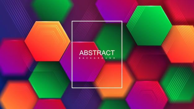 Streszczenie tło z kolorowymi sześciokątnymi kafelkami gradientu