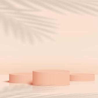 Streszczenie tło z kremowym kolorem geometryczne podium 3d. ilustracja wektorowa.