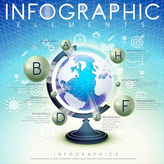 Streszczenie tło z kulą ziemską i ikonami projektowania elementów infografiki