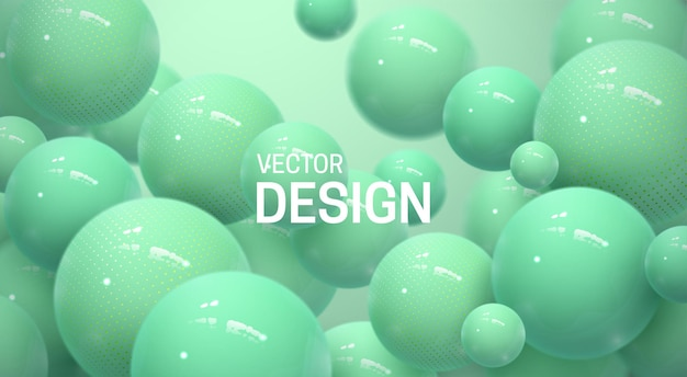 Streszczenie tło z miętowo-zielonymi kulkami 3d