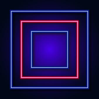 Streszczenie tło z neonową ramą koło światła na tle. ilustracja wektorowa