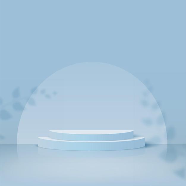 Streszczenie tło z niebieskim kolorem geometryczne podium 3d. ilustracja wektorowa.