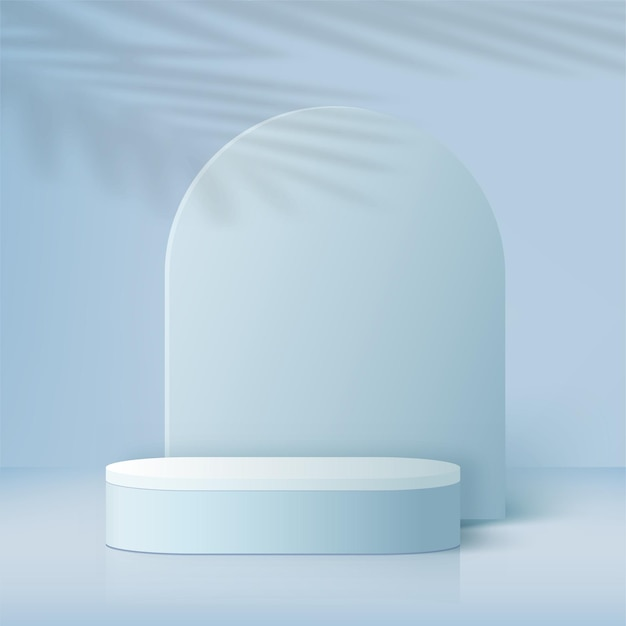 Streszczenie tło z niebieskim kolorem geometryczne podium 3d. ilustracja wektorowa