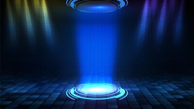 Streszczenie tło z okrągłym futurystycznym oświetleniem pustym reflektorem sceny