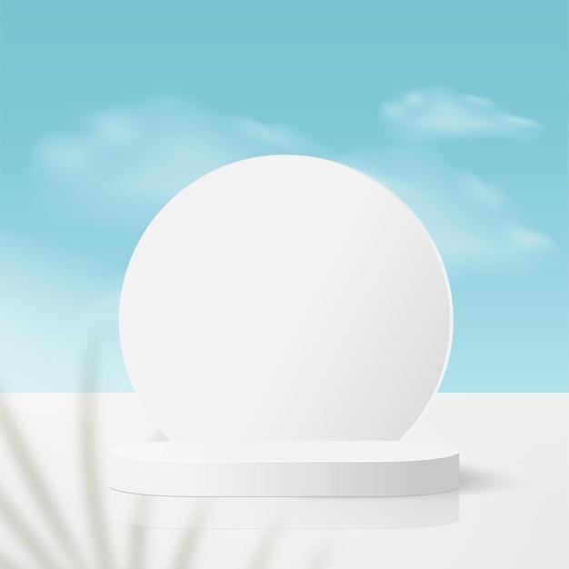 Streszczenie tło z podium geometryczne 3d kolor biały.