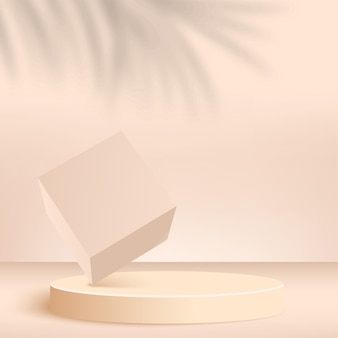 Streszczenie tło z podium geometryczne 3d w kolorze kremowym. ilustracja.