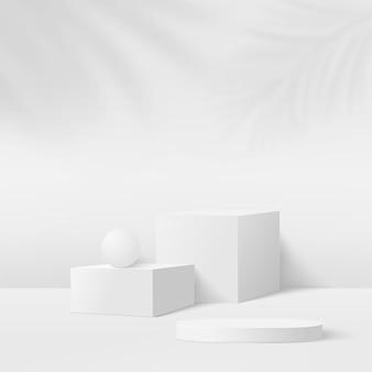 Streszczenie tło z podium geometryczne kolor biały