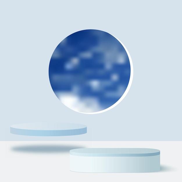 Streszczenie tło z podium geometryczne kolor niebieski.