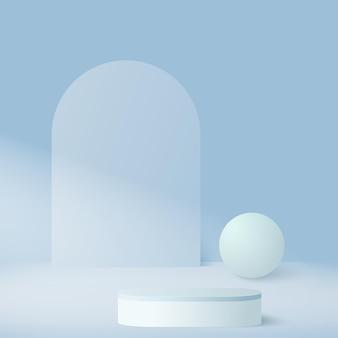 Streszczenie tło z podium geometryczne niebo kolor niebieski.