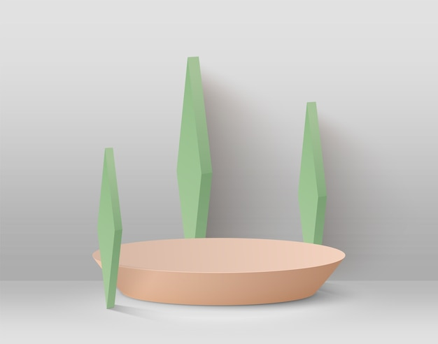 Streszczenie tło z podium i zielone kształty geometryczne na jasnym tle.