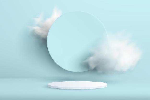 Streszczenie tło z podium w minimalistycznym stylu z chmurami na tle. realistyczny obraz pustego cylindrycznego postumentu do prezentacji produktu z dekoracją w kształcie koła.