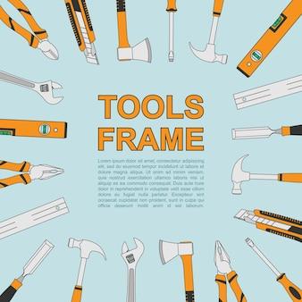 Streszczenie tło z ramą z ikonami narzędzi