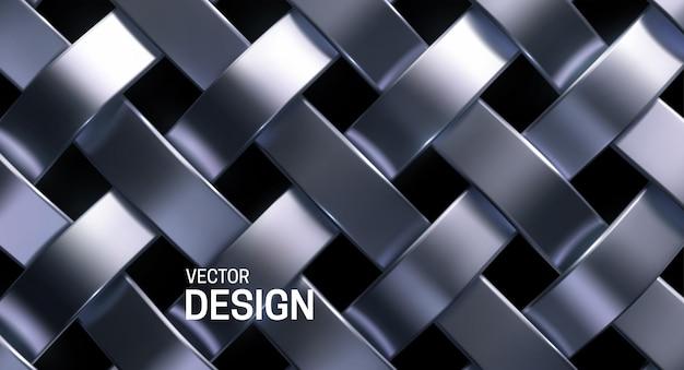 Streszczenie tło z srebrnym wzorem wikliny