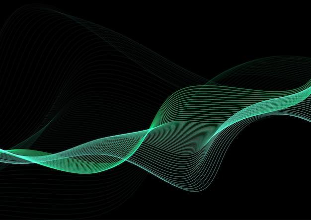 Streszczenie tło z zielonych linii płynące projektowania