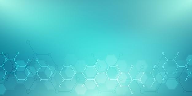 Streszczenie tło ze strukturami molekularnymi lub inżynierią chemiczną, badania genetyczne, innowacje technologiczne. pojęcie naukowe, techniczne lub medyczne.