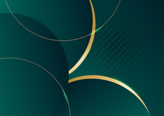 Streszczenie tło zielony luksus ze złotą linią na ciemno. realistyczny styl cięcia papieru 3d. ilustracja wektorowa na baner, plakat, broszurę, tło prezentacji i wiele więcej