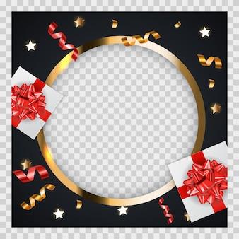 Streszczenie tło złote błyszczące ramki z prezentami i świecidełko.